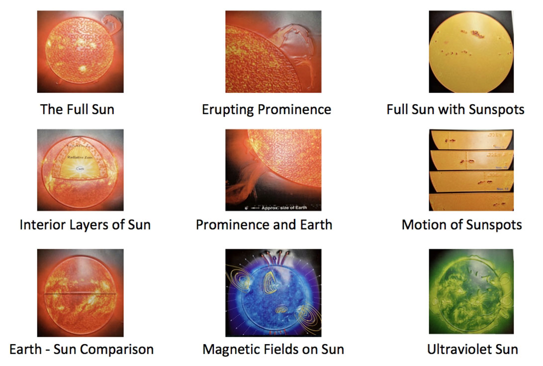 The Tactile Sun picture options are: The Full Sun, Erupting Prominence, Full Sun with Sunspots, Interior Layers of the Sun, Prominence and 