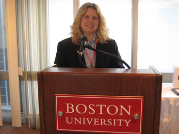 Noreen Grice speaking at BU award ceremony