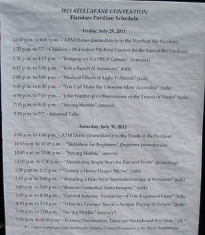Presentation Schedule at Stellafane